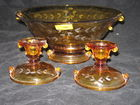 Amber Console Bowl and Matching Candles