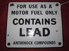 PORCELAIN GAS PUMP LEAD SIGN