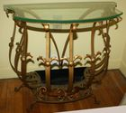 Iron glass top console