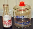 Vintage Toms jar & old milk bottle