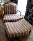 Upholstered chair w/ ottoman