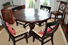 Distressed pine round dining set