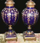 Cobalt enameled porcelain lamps