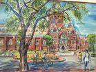 Harvard Memorial Hall watercolor