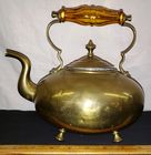 19th c Brass Footed Tea Kettle