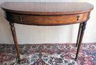 Inlaid demilune table
