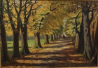 Tree lined oil painting