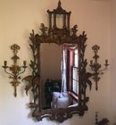 Asian motif mirror with sconces