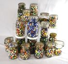 Lot 80) 20 jars early assorted marbles