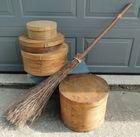 Vintage Cheese Boxes, Handmade Broom