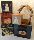Snowman Stacking Boxes & Wood Tote