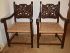 Carved back eagle chairs
