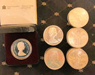 Silver coins incl 100 Canadian dollars