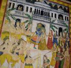 Krishna in a palace surrounded