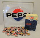 Pepsi Cooler Sign, New Caps, Bank