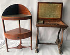 Antique sewing table & corner stand