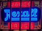 Large double sided Porcelain Neon Rexall