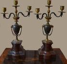 447. Pr. Bronze and marble candelabra