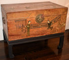 351. Asian painted pigskin chest