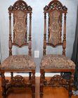 Pr antique carved highback chairs