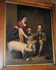 274. 19th C. o/c genre scene with pig