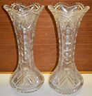 236. 15in Cut glass vases sm. chips