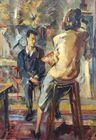 Artist in studio painting sitter