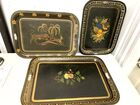 Lot# 128 - Lot of 3 Hand Painted Trays