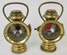 Pair of Antique Brass Safety Lamps