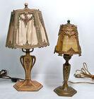 Vintage Boudoir Lamps, Slag Glass