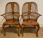 Yew wood Windsor armchairs