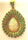 18k opal and emerald pendant