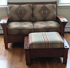 Mission style settee and ottoman
